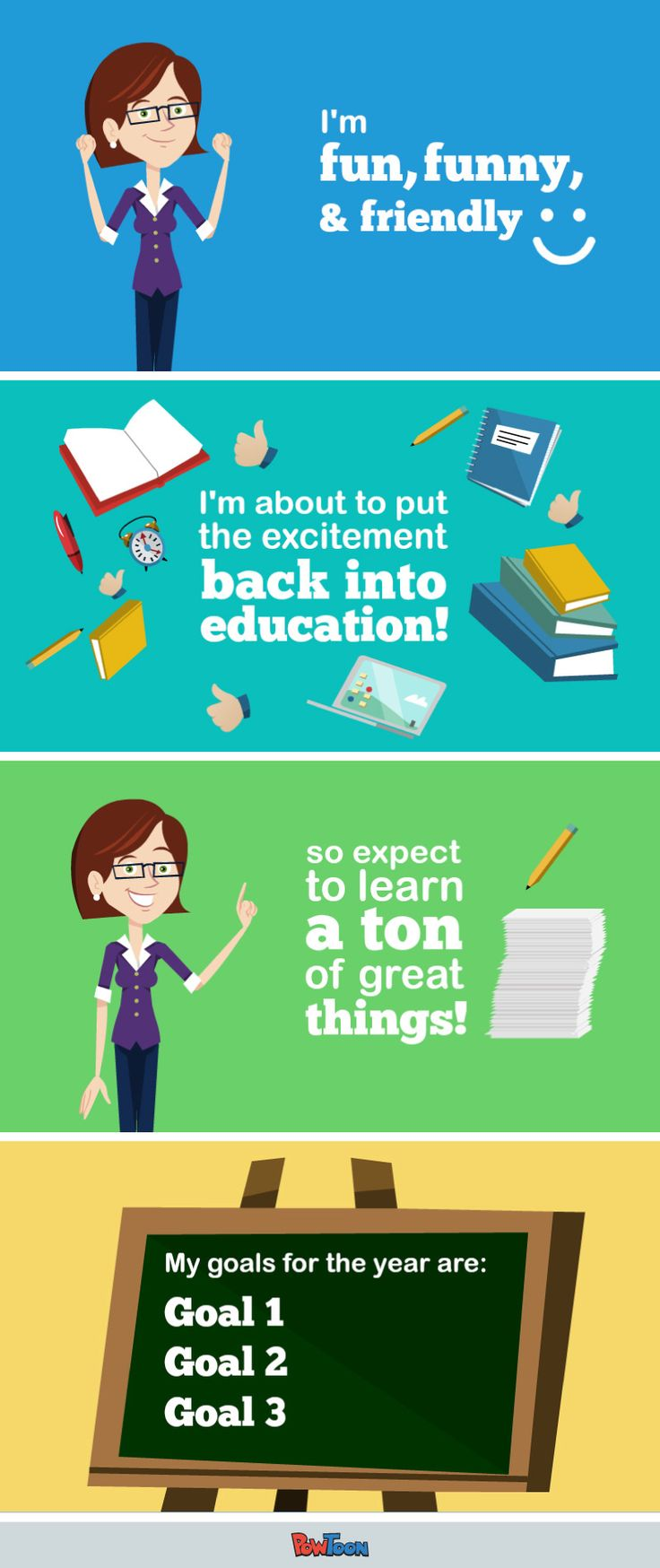 New School Year! Introduce yourself the cool, hi tech way, with a fun and easy animated presentation. This 'Teacher Resume' Template will leave a great first impression on your students! and it's FREE. #edtech http://www.powtoon.com/