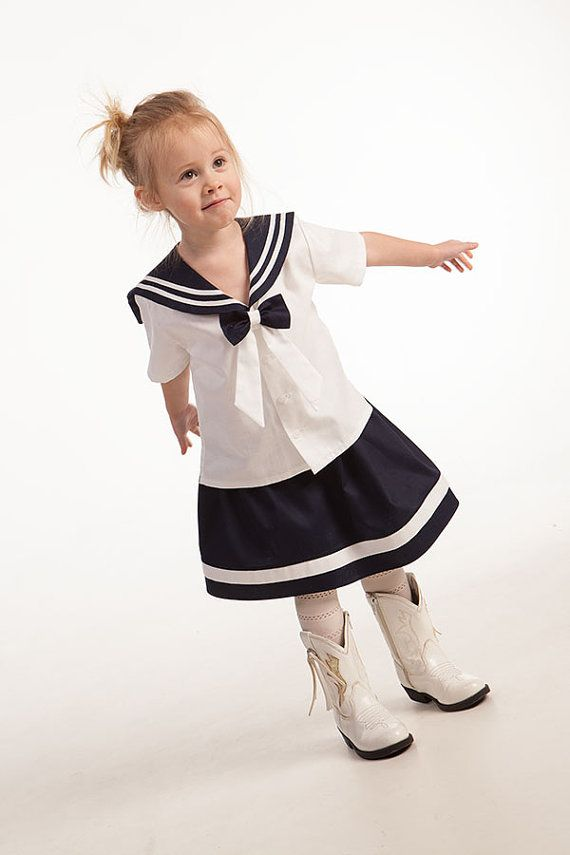 Girl sailor outfit baby sailor clothing girl summer by Graccia, $80.00