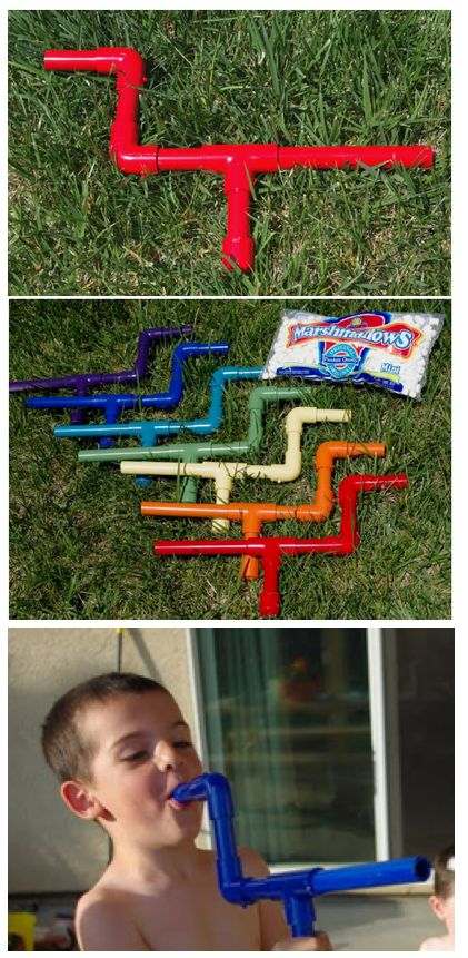"MINI MARSHMALLOW SHOOTERS:  Made from 1/2"" PVC pipe & connecters & a blast of different colors of spray paint (so everyone can keep track of their own gun), then seal w/clear primer. (See pic.) Simple to use . . . just load a mini marshmallow into the mouthpiece & give it a quick puff of air.  Let the battle begin!"
