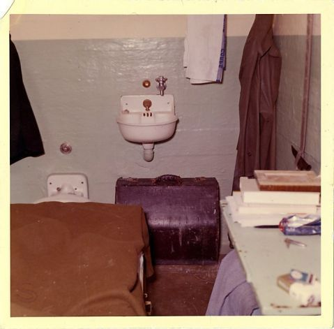 This 1962 photo from the U.S. Penitentiary Alcatraz shows Frank Morris's cell and shows the entire back of the cell with the accordian case that was blocking the avenue of escape.