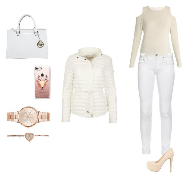 """White winter puffer jacket"" by carson-1005 ❤ liked on Polyvore featuring Velvet by Graham & Spencer, rag & bone, Charlotte Russe, Michael Kors and Casetify"