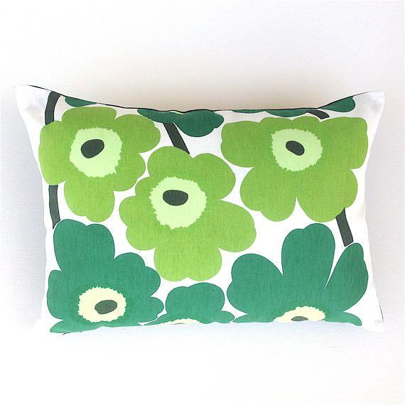 Green Cushion Cover. Marimekko Unikko Pillow. Poppy Pillow.