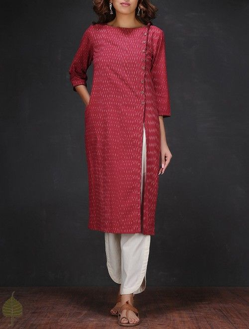 Red-White Ikat Boat Neck Handloom Cotton Kurta