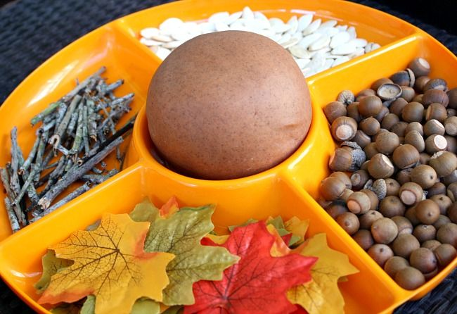 "Autumn Play Dough from Fantastic Fun & Learning ("",) this is a good idea for all the seasons."