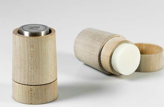 """Imagine the amount of disposable deodorants we consume every year. The empty containers end up as trash and are harmful not only to our planet but also to our bodies since they often contain chemicals and non-natural substances. """"Refill deo"""" is designed with this problem in mind. It allows the user to easily create their own personalized natural deodorant as the reusable wooden container is not only a protective case for the deo stick, but also a casting form for producing a new one."""