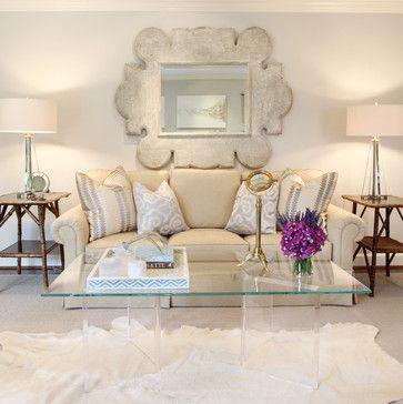 Contemporary Living Room Glass Acrylic Coffee Table Statement Mirror Over Sofa Linen Sofa Mi