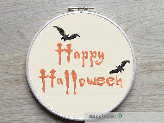 Halloween cross stitch pattern, happy halloween quote, PDF, DIY ** instant download**