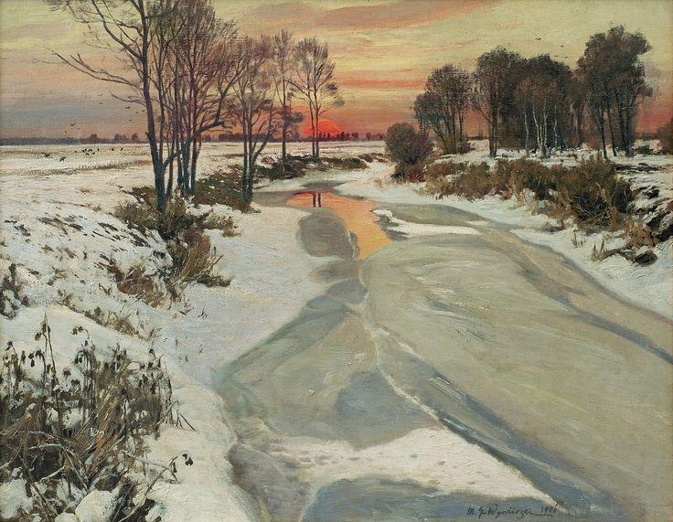 Michał Gorstkin Wywiórski | <i>ZIMOWY ZACHÓD, 1906</i> | olej, płótno | 69 x 88.5 cm