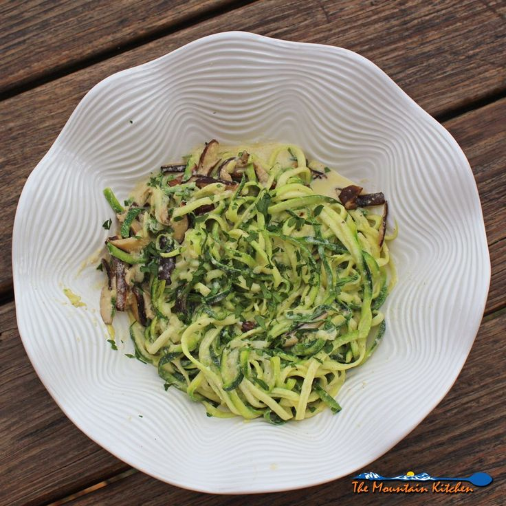 Shiitake mushrooms in a nest of creamy zucchini noodles with Alfredo ...