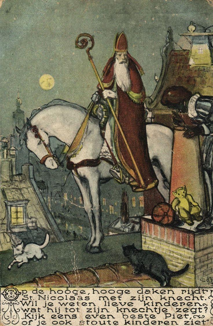Saint Nicholas on Horse Black Peter Black Cat on Roof Vintage Artist Postcard | eBay