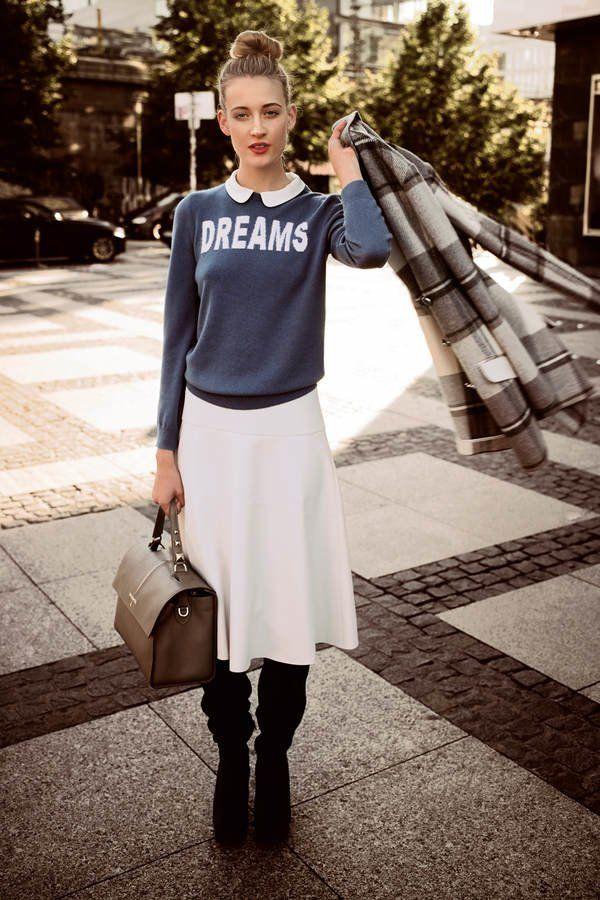 """Pullover mit Aufdruck """"Dreams"""" zum Rock und Overknees kombinieren"""