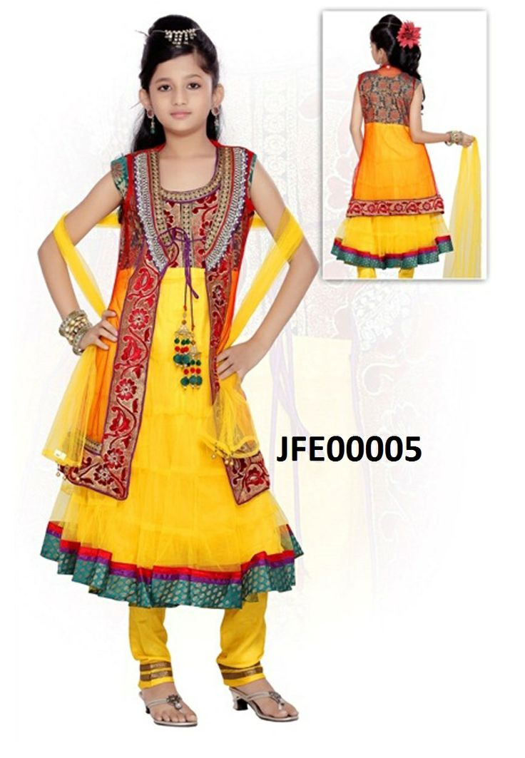 Yellow Net and Brocade Readymade Anarkali Churidar Kameez Itemcode: JFE00005 Price:  US$ 66.82 #Shop Now @ http://www.jivafashion.com/kids/yellow-net-and-brocade-readymade-anarkali-churidar-kameez/code=JFE00005
