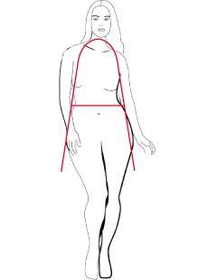 Net als de A-lijn Recht heeft dit type bredere heupen dan schouders. Het verschil is echter dat het silhouet meer ronde vormen weergeeft. Deze vrouw heeft vaak een langer bovenlichaam, een mooie taille en vollere heupen en dijen