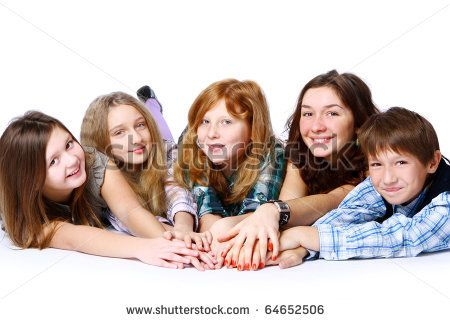 Group of cute attractive and happy kids posing on white