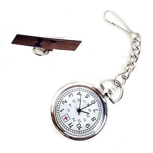 Silver Tone Nurse Watch ClipOn Brooch Pocket Second Hand Clock Medical Gift Box Lanyard FOB ID Tag Timer *** Details can be found by clicking on the image.
