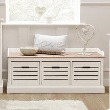 Bretagne White 3 Drawer Storage Bench | Dunelm