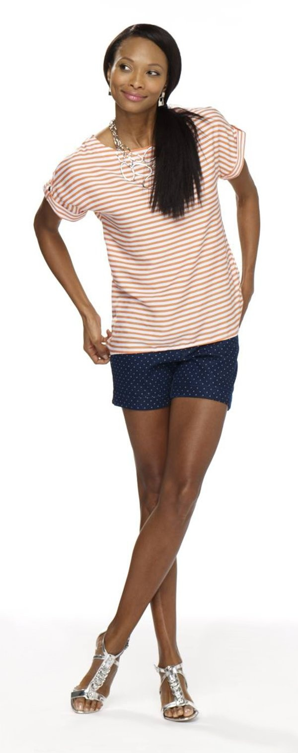 Unique Striped shirt polka dot shorts mixed patterns patriotic style Burlington