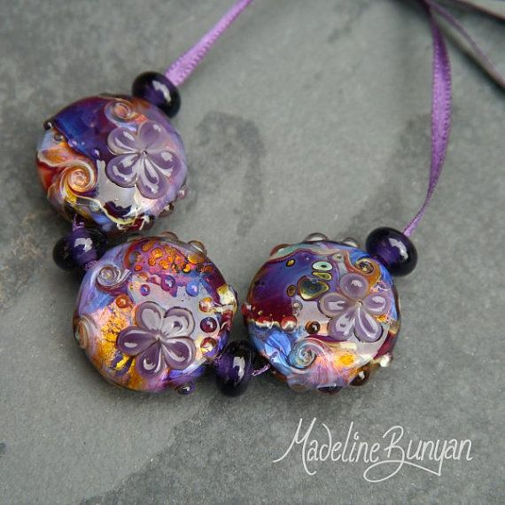 reserved purple u0026 amber garden flowers swirls by beaded beadsbead