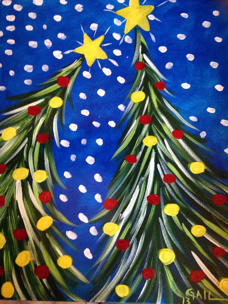 """Easy Peasy Christmas Treesys"" by Gail Heath (Acrylic)"