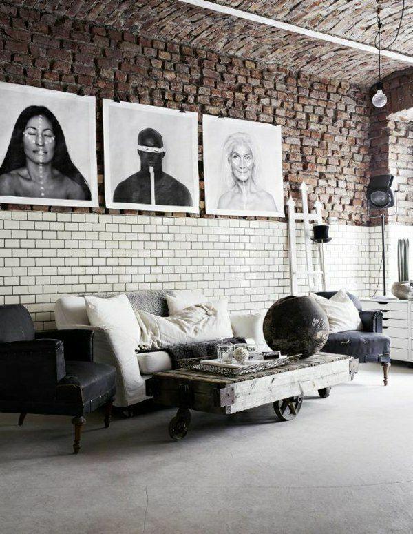 murs en briques, peintures murales, style industriel, meubles industriels