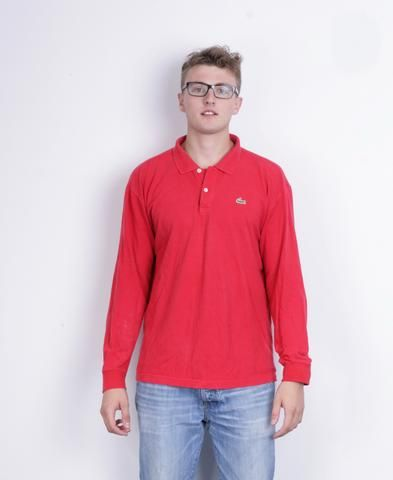 Lacoste Mens XL 7 Polo Shirt Long Sleeve Red Cotton Sport