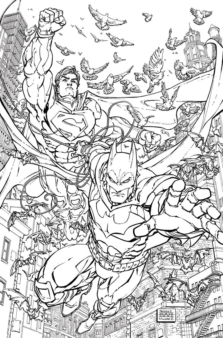 batmansuperman 28 adult coloring book variant cover by freddie e williams ii