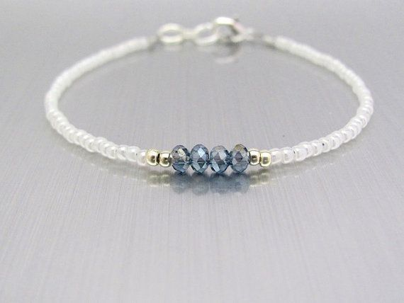 Amazing White Brazilian Bracelet, Blue Crystal Beads, Seed Bead Bracelet …