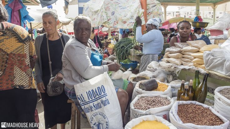 Woman selling beans and rice at the market. Sucupira market, the Plateau, Santiago, Cape Verde