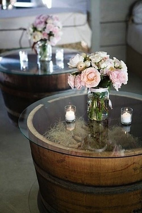 Cool #DIY #table made of barrels and #glass. Love this look!