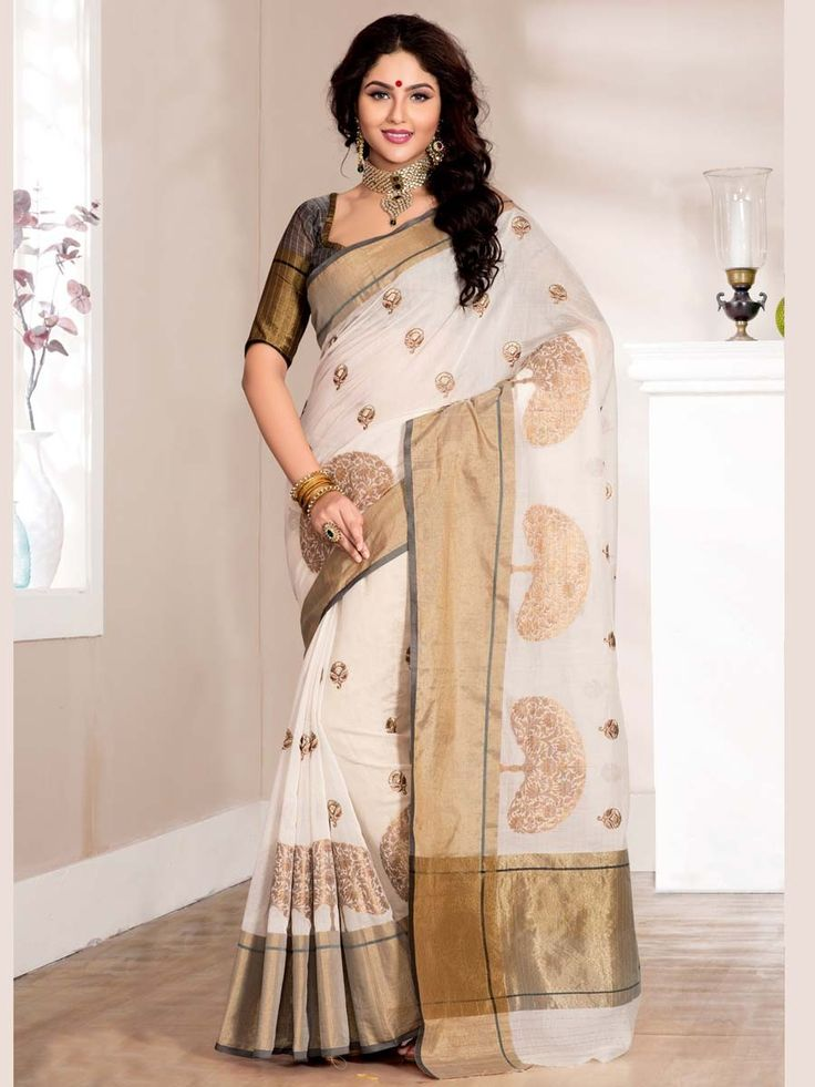 Glamorous off white color cotton supernet saree with golden border and resham embroidery work. Item Code : SAX4084 http://www.bharatplaza.com/new-arrivals/sarees.html