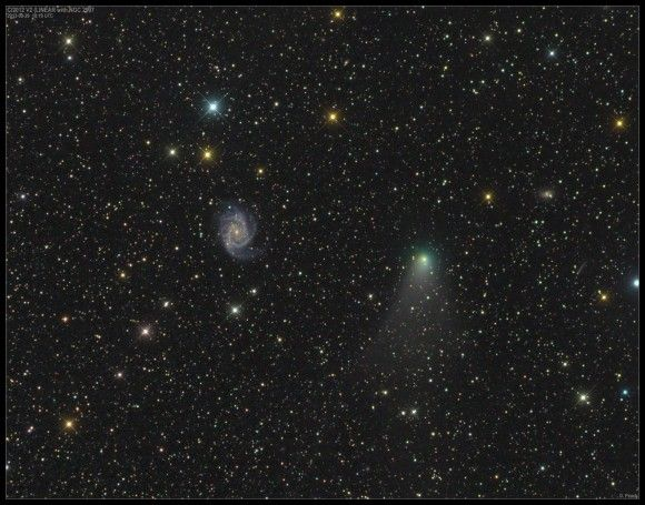 "Comet C/2012 V2 LINEAR and the bright spiral galaxy NGC 2997 in Antlia on September 29, 2013. They look close together, but the galaxy is 38 million light years away. (Credit & copyright: Damian Peach) Mona Evans, ""Comets"" http://www.bellaonline.com/articles/art33712.aspNgc2997"