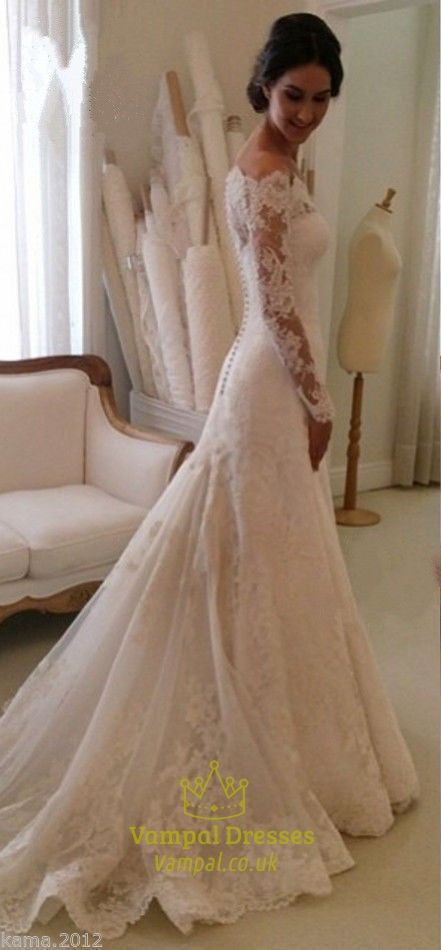 white lace off the shoulder sheer long sleeve wedding dress with train