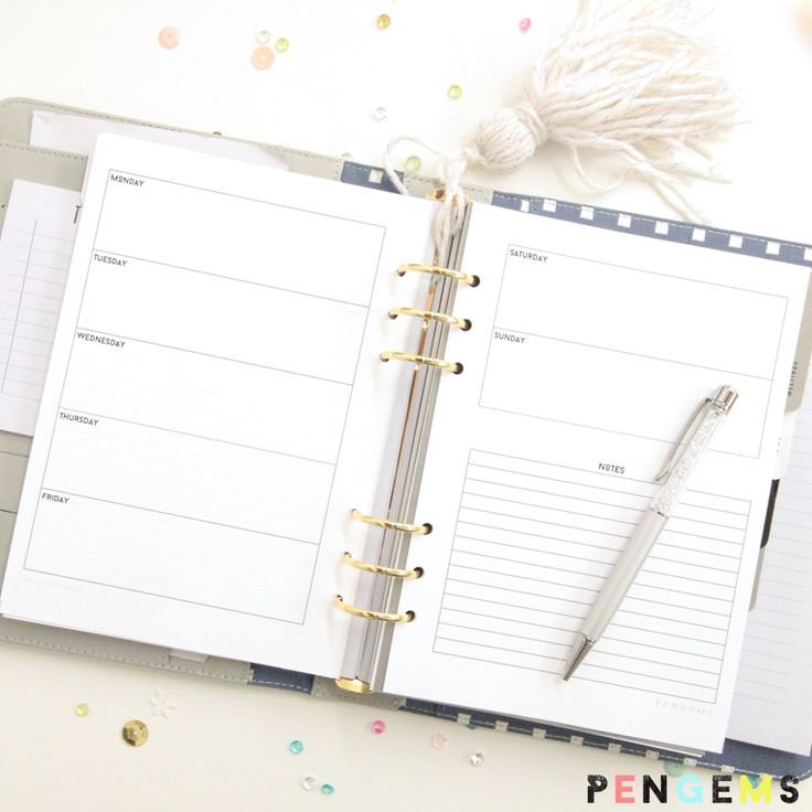 2016 Free A5 Printable Planner Inserts – Week on Two Pages - PenGems