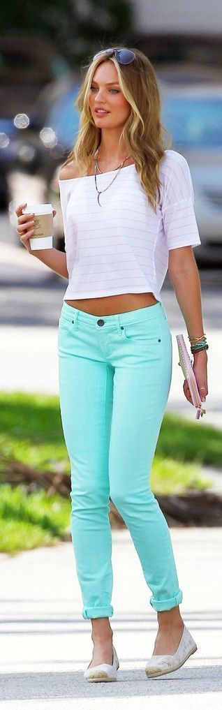 Love these jeans!!! street style Candice Swanepoel mint @wachabuy