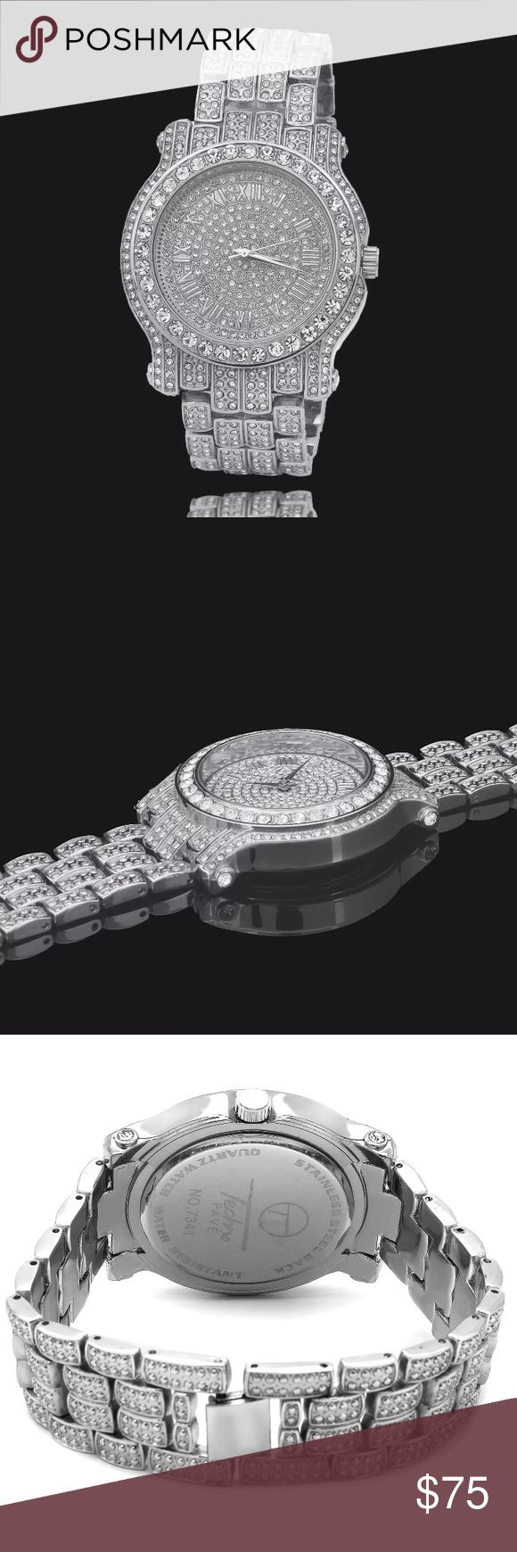 Men's ICED OUT Silver Watch Hip Hop Jewelry ICEY Specifications:  Case Diameter: 45 mm Case Thickness: 10 mm  Display: Analog dial Color: Silver Accent Color: Silver  Bracelet Material: Metal(Watchband) Bracelet Width: 21mm Clasp Type: Luxury buckle Movement: pc21 movement (one of the best in the world) Power Supply: 1x button cell Battery  BRAND NEW   ALL ITEMS ARE NEW / UNUSED IN SEALED PACKAGE. I ONLY SELL TOP QUALITY PRODUCTS. Accessories Watches