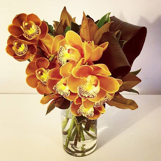 Stunning orange Cymbidium orchid vase.