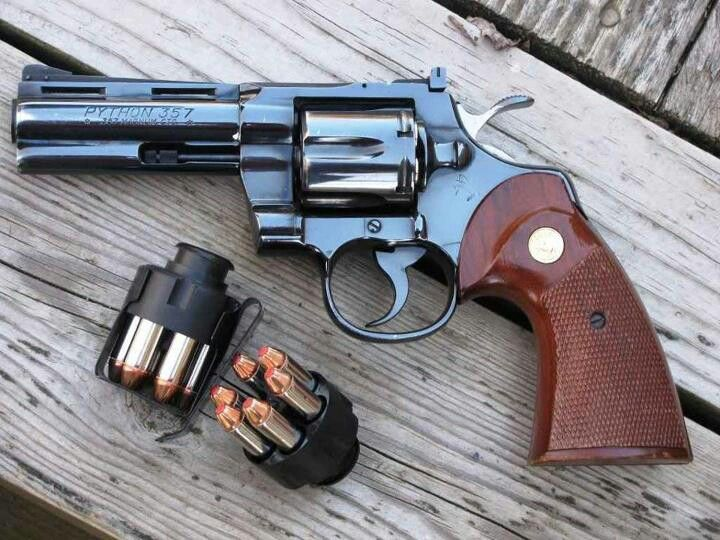 Daddy's gun.  Colt Python .357.  The most in depth study of handgun deaths, showed that the .357 magnum was the deadliest round. It was not responsible for the most deaths, but was the only round that on average took less than two shots to prove fatal.