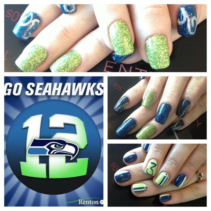 28 best nails images on pinterest spas salons and nail manicure football inspired nails superbowl seattle seahawks nail art at spoiled spa and salon in vancouver prinsesfo Image collections
