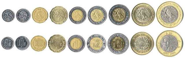 This is an image showing the coins which are currently used as money in Mexico. This Mexican coinage is part of the monetary system used in Mexico.