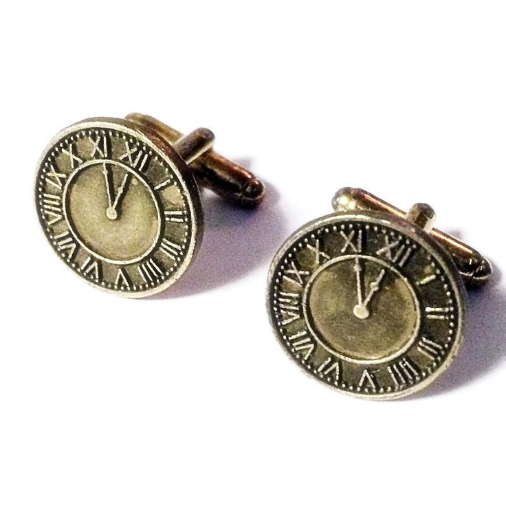 SALE Bronze Clock Cufflinks, Men's Handcrafted Roman Numeral Numbers Timepiece Hour Time Cuff Links- Guys Prom Groom Wedding Gift for Man by Lynx2Cuffs on Etsy https://www.etsy.com/listing/254800247/sale-bronze-clock-cufflinks-mens
