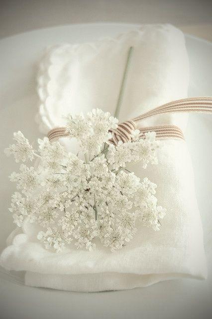 White Napkin with white flowers