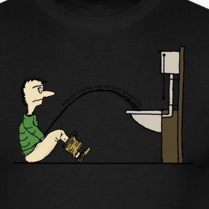 Mann Sollte Im Sitzen Pinkeln Als Comic Figur Männer T Shirt T