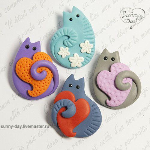 Котоброшки! - брошь из пластики,полимерная глина,кот или кошка,котик влюбленный