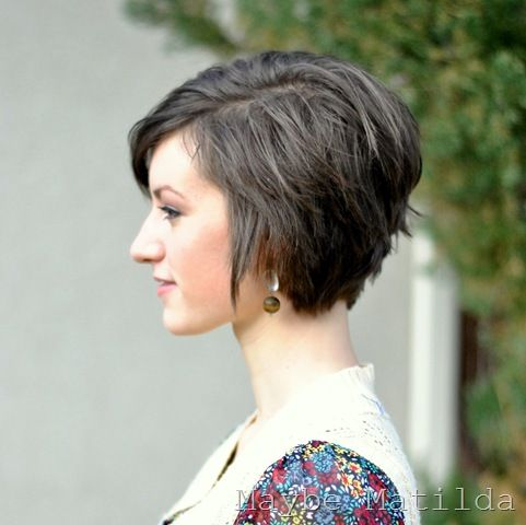 cute stacked hair style. A good in between style for growing out pixie cuts (The link leads to a post with pictures of a pixie cut grow out)