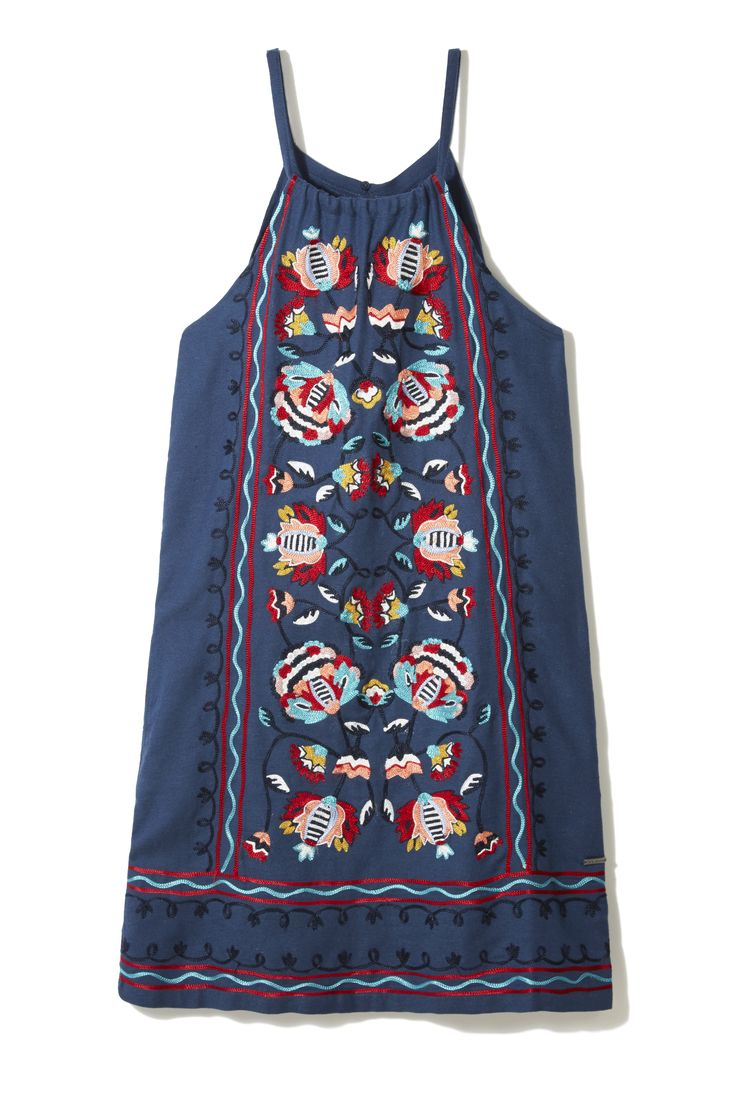 Dress up your denim - literally - with Pepe Jeans' embroidered A-line pinafore. Pair with this season's elevated espadrille and a top-handle basket bag to complete the look.