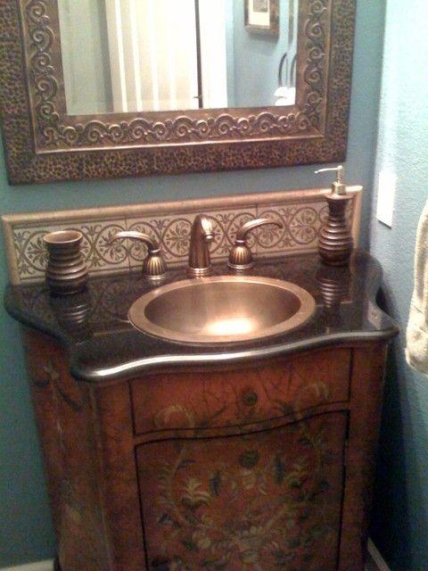 Half Bath from eBay and Marshalls - eclectic - powder room - san francisco