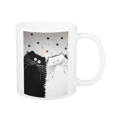 white and black cats mug