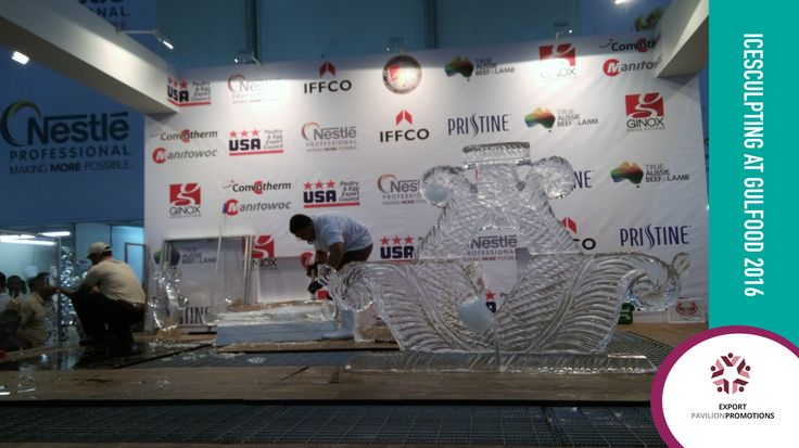 Ice sculpting competition at the Gulfood 2016 trade show. We were lucky enough to watch this spectacular event! .............................. #exportpavilionpromotions #exporttrade #business #icesculpting #gulfood2016 #tradeshows #dubaitrade #dubaiworldtradecenter