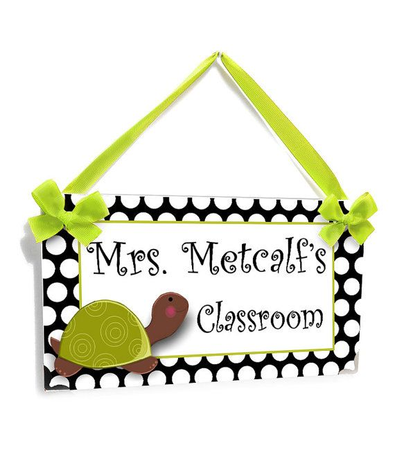 personalized teacher name classroom door sign - black and white dots with turtle themed class wall plaque - P219
