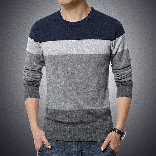 Gender: Men Brand Name: LANGBEEYAR Technics: Computer Knitted Hooded: No Wool: Thin Wool Collar: O-Neck Sleeve Length: Full Decoration: None Sleeve Style: Regular Pattern Type: Striped Style: Casual M
